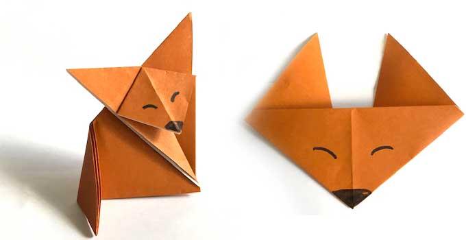 折り紙キツネとキツネの顔