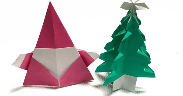 折り紙 クリスマスツリーとサンタ