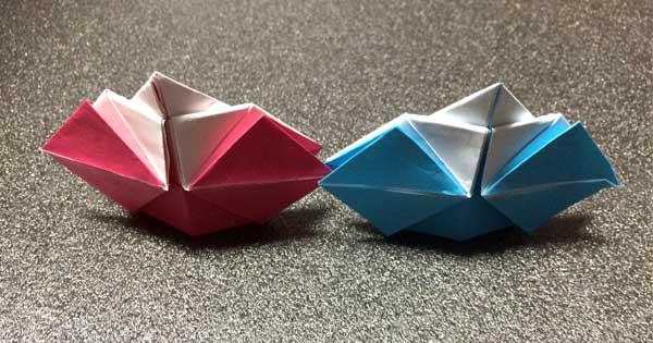 おひなさまの折り紙の完成!