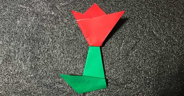 チューリップの折り紙完成!