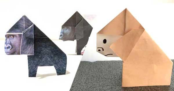 ゴリラの簡単な折り方|プリント折り紙付 How to  fold Gorilla
