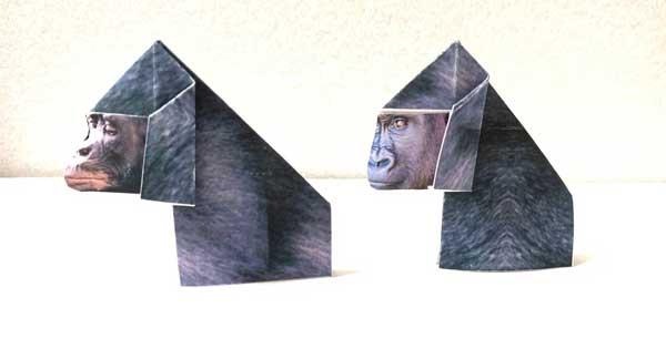 ゴリラのプリント折り紙