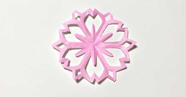 ハサミで簡単!桜の切り紙|型紙3