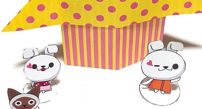 折り紙で作る家とウサギ