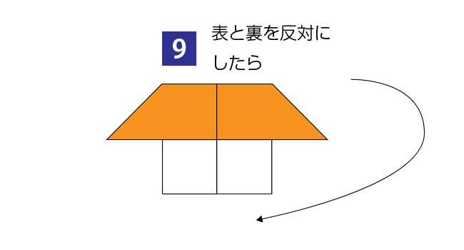 折り紙で作る簡単な家の折り方9