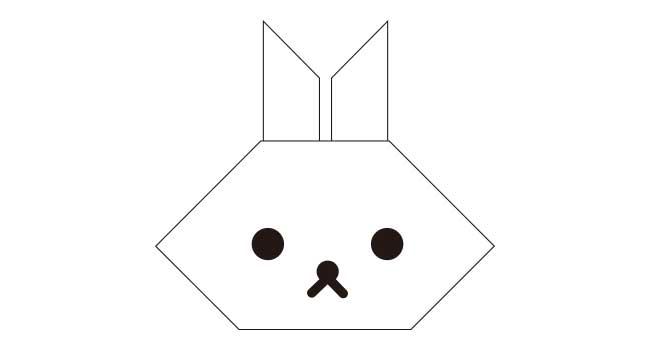 簡単!ウサギの折り紙の顔の完成!!