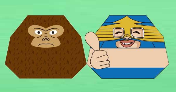 折り紙達磨(猿とレスラー)